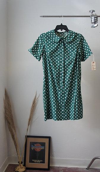 70s Handmade Polka Dot Shift Dress