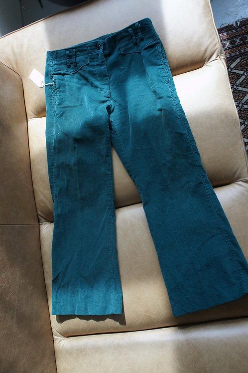 70s Dark Green Soft Corduroy Flare Leg Pants