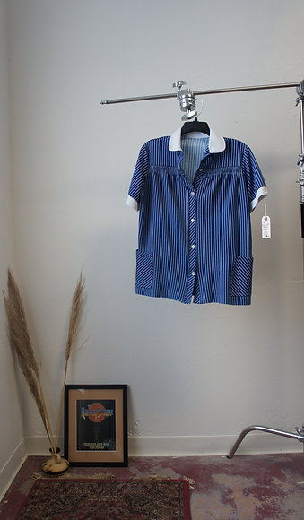 70's Blue and White Rouched Blouse
