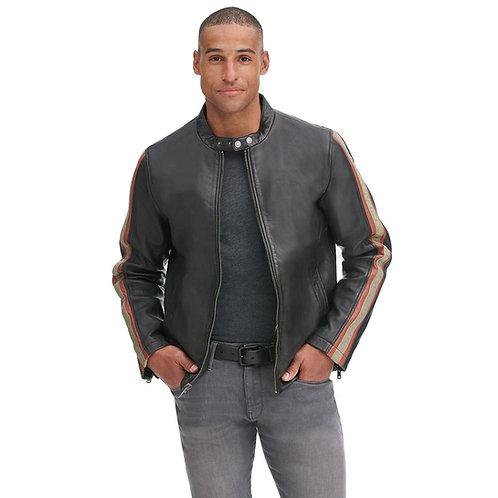 """Senna"" Neck Striped Leather Jacket"