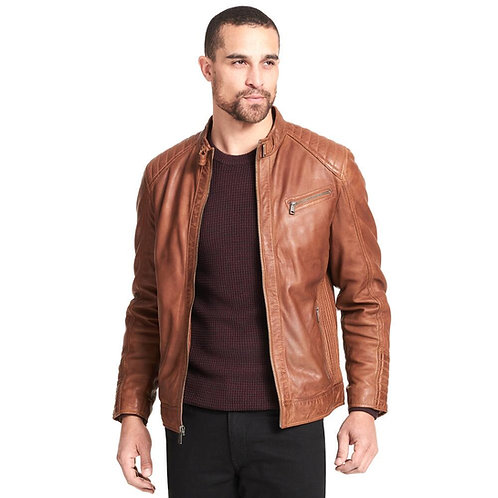 """""""CL99 Dessert"""" - Tanned Classic Leather Jacket With Quilted Shoulder Pads"""