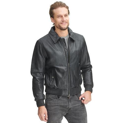 """Jones B2"" - Wide Collar Standard Leather Jacket"