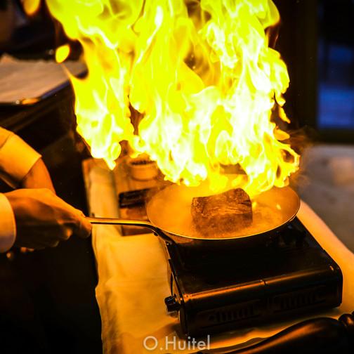 Chateaubriand flambé au cognac.