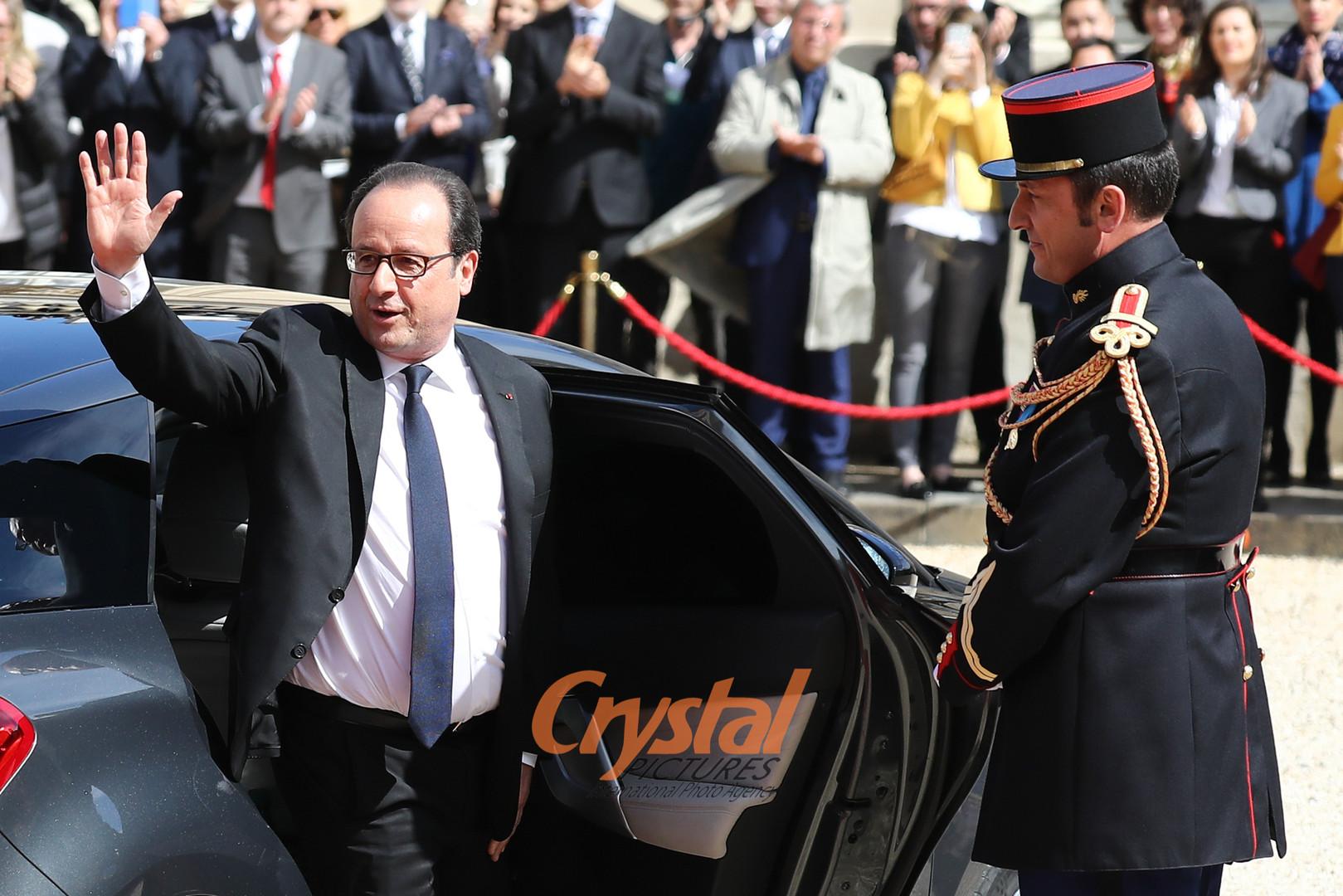 Passation de pouvoir Hollande-Macron à l'Elysée.