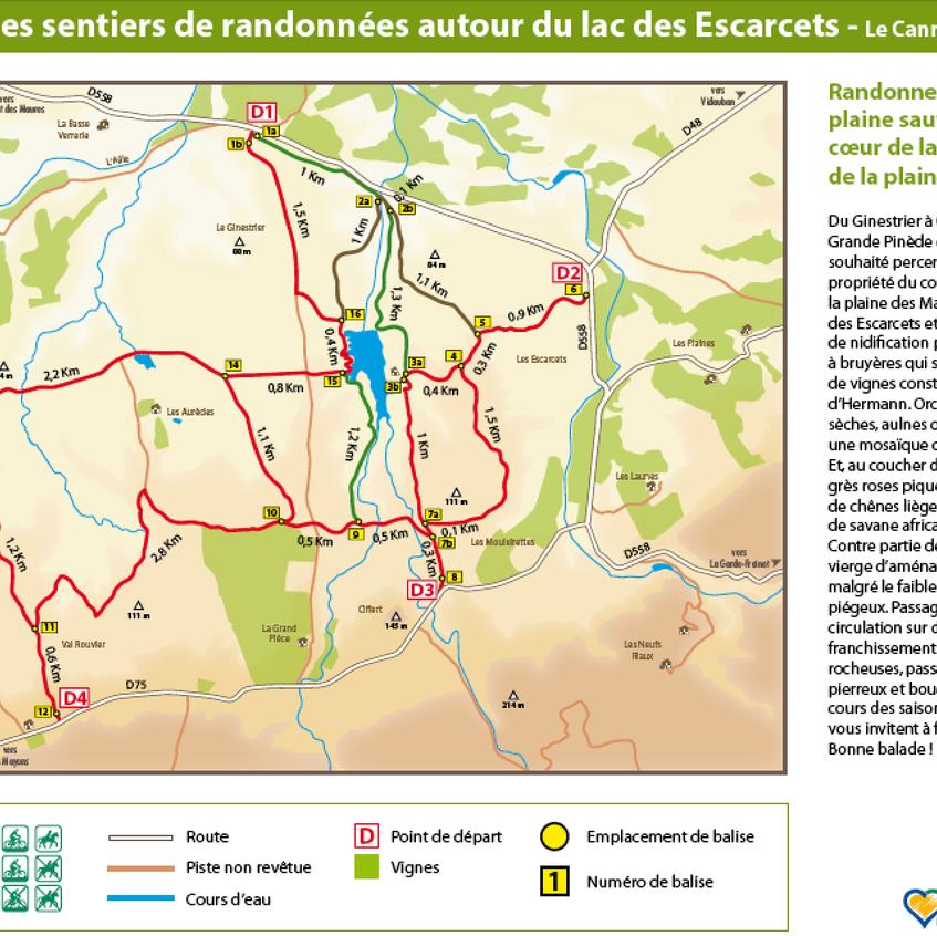 Plan Sentiers du Lac des Escarcets © Communauté de Communes Coeur du Var.