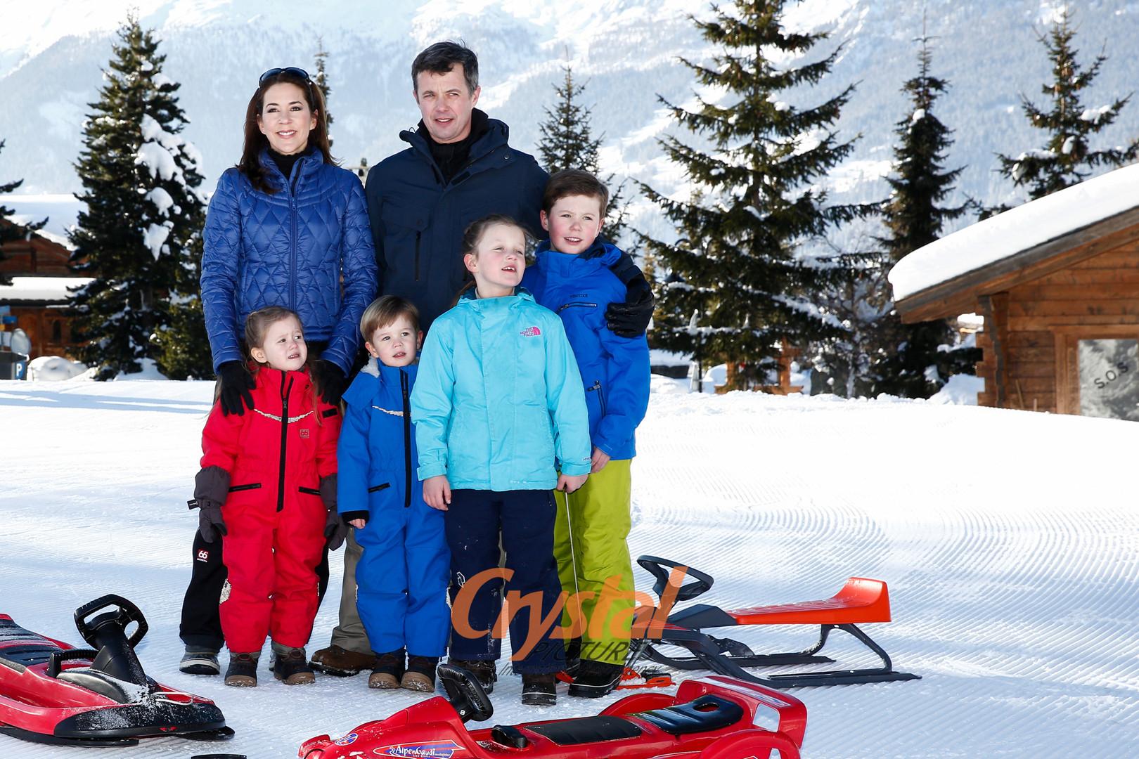 Photocall Famille Royale du Danemark à Verbier, Suisse.