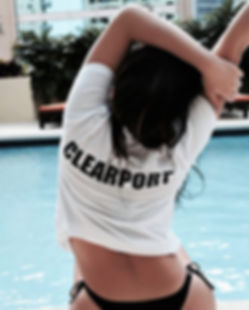 clearport model, clearport, bikini, miami, poolside, branding, compay, merch, tshirt, employee, model, luxuyr