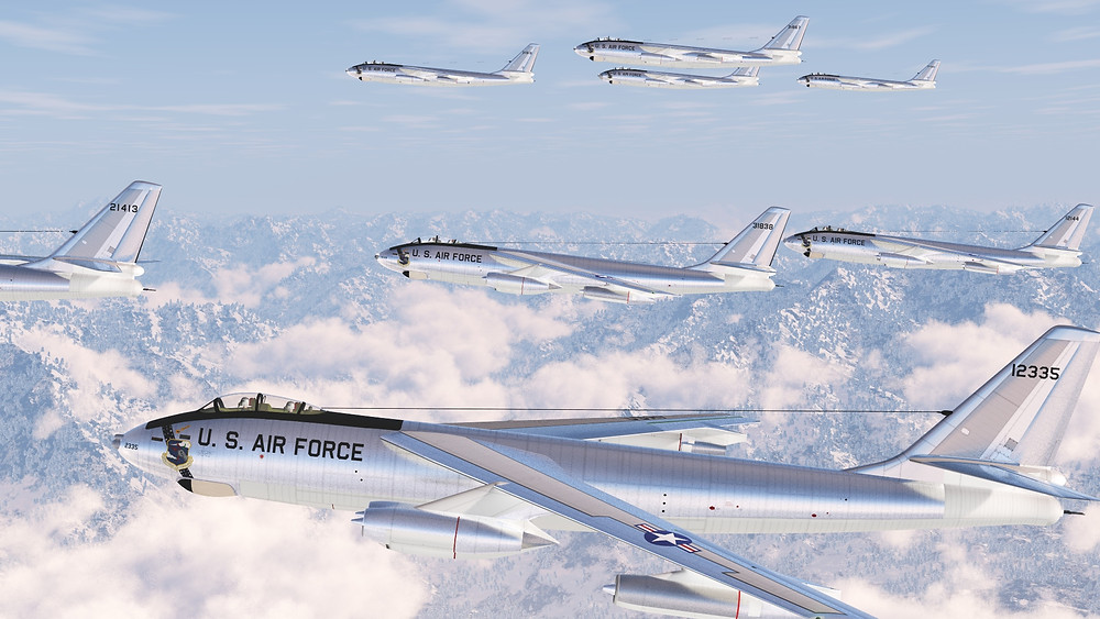 A squadron of Boeing B-47 Stratojets flying across the Continental Divide.