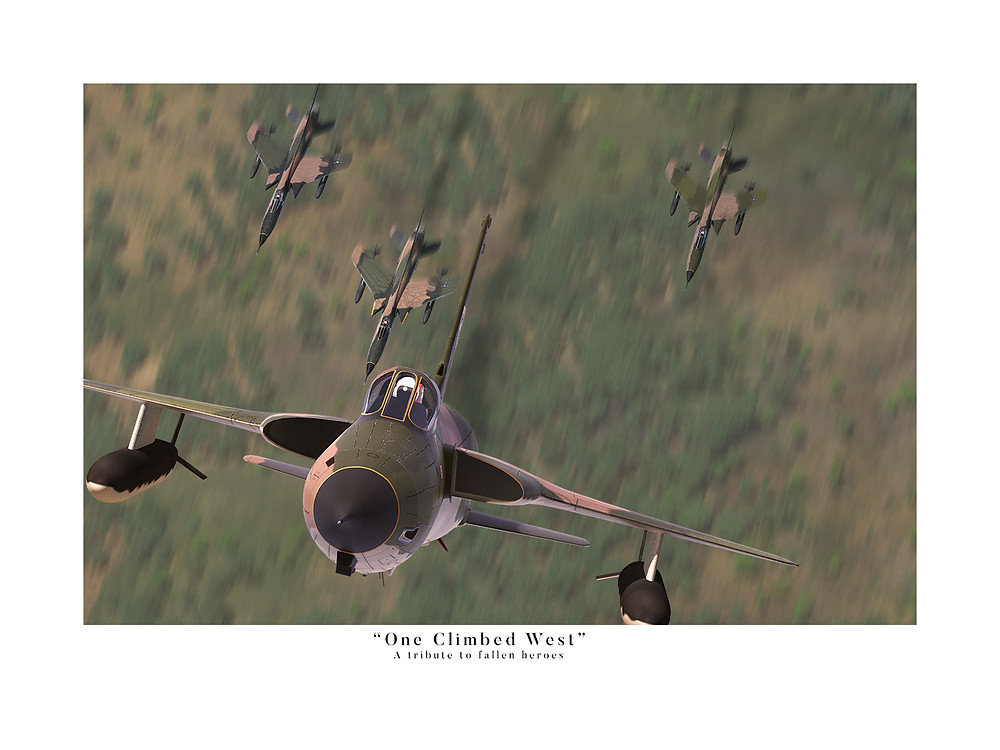 F-104D Thunderchiefs performing a Missing Man Formation