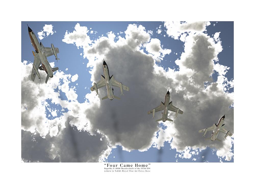 Post-strike F-105D Thunderchiefs of the 357th TFS.