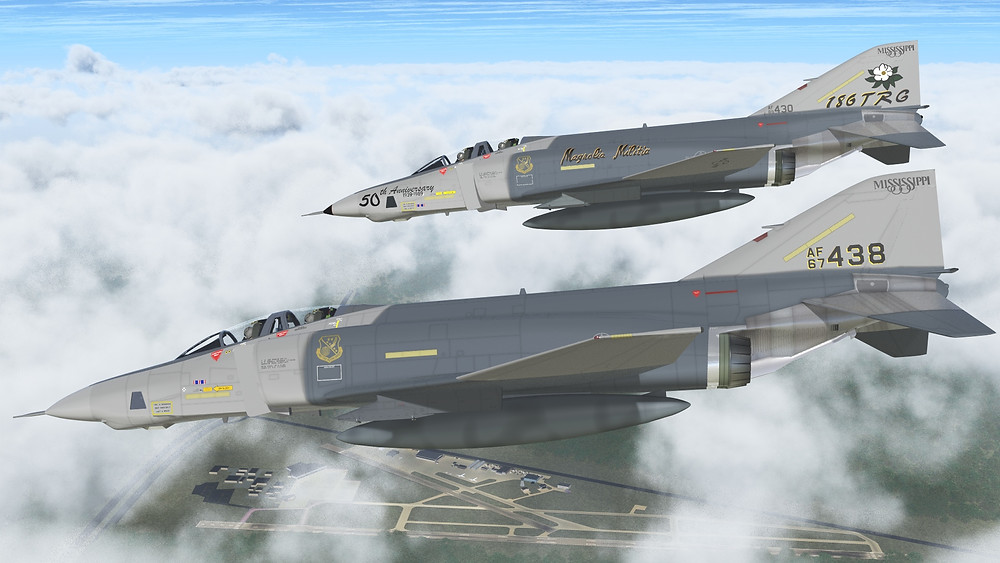 Two RF-4C Phantoms decending towards historic Key Field in Meridian, Mississippi