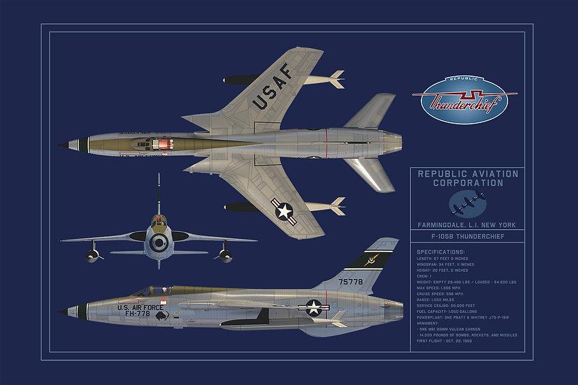 Republic F-105 Blueprint Poster