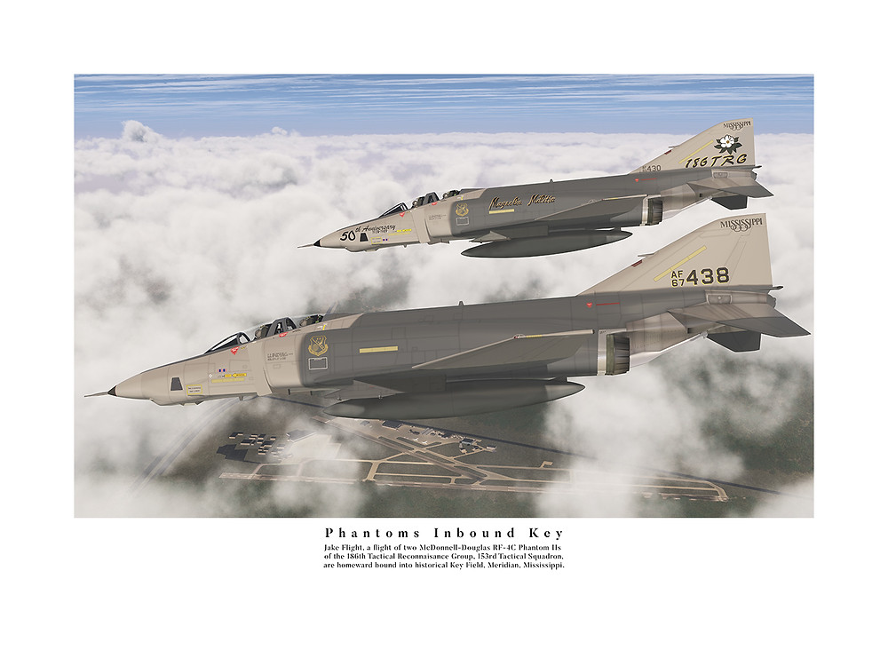 """""""Phantoms Inbound Key"""" depicts """"Jake Flight"""", two McDonnell-Douglas RF-4C Phantom II reconnaisance fighters, while decenting towards historic Key FIeld in Meridian, Mississippi."""