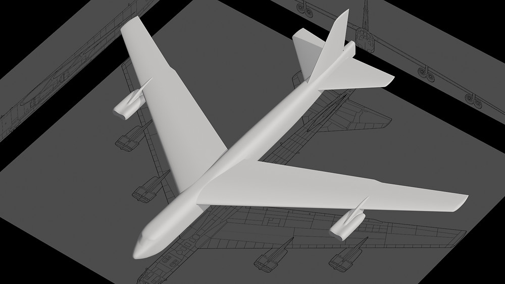 The Boeing B-52 3D model with newly created outboard engine pods.