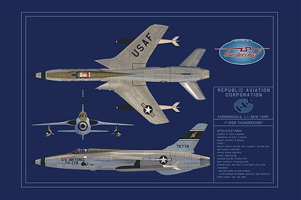 Republc F-105 Blueprint Poster