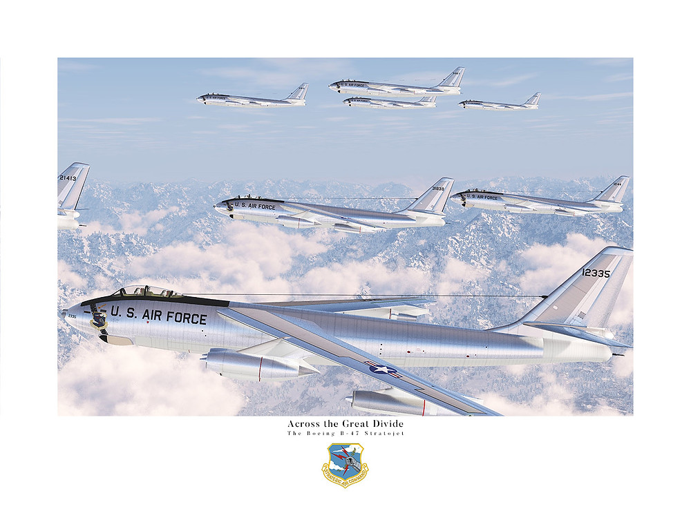Boeing B-47 Stratojets flying over the Continental Divide.