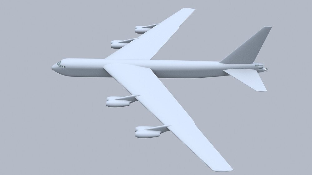Boeing B-52 Stratofortress 3D model from above.
