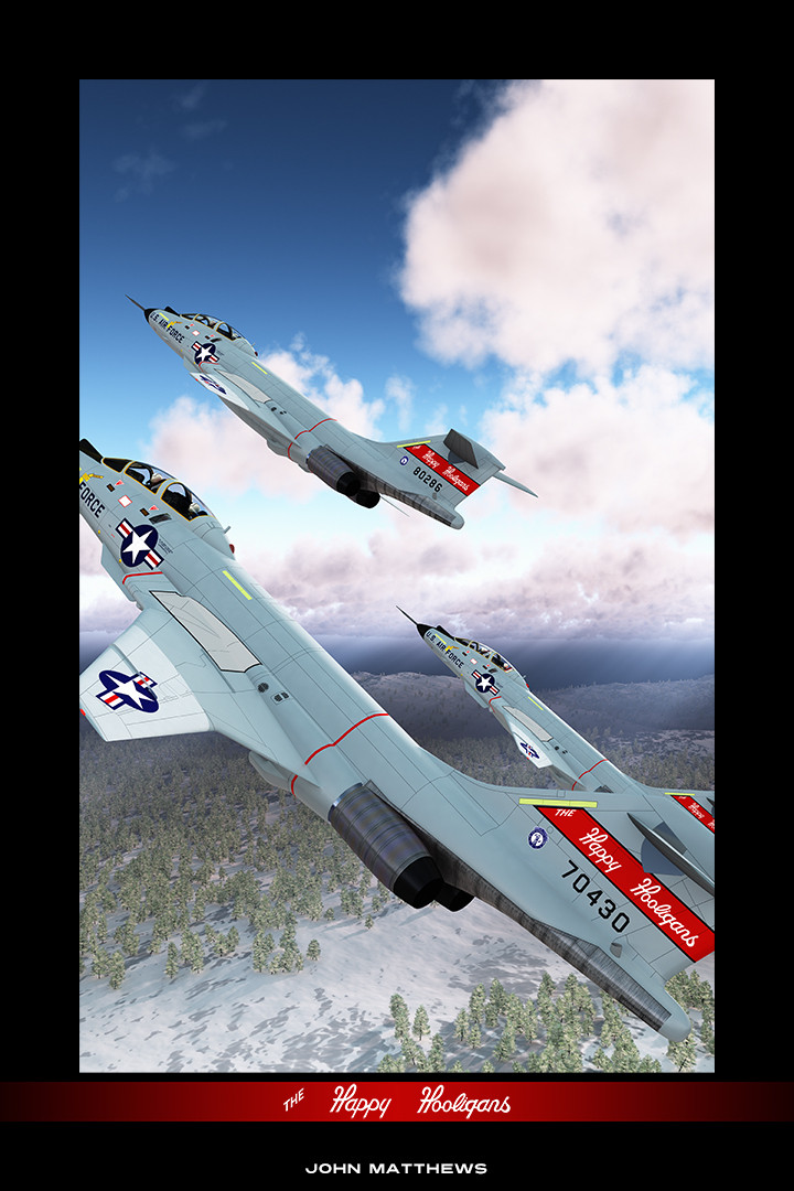 """The McDonnell F-101B Voodoo interceptor, flown by """"The Happy Hooligans"""" of the 178th FIS, North Dakota Air Guard."""