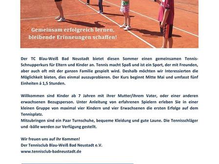 Tennis Schnupperkurs für Mutter/Vater und Kind