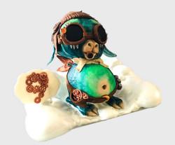 Steampunk Alien Sculpted Cake