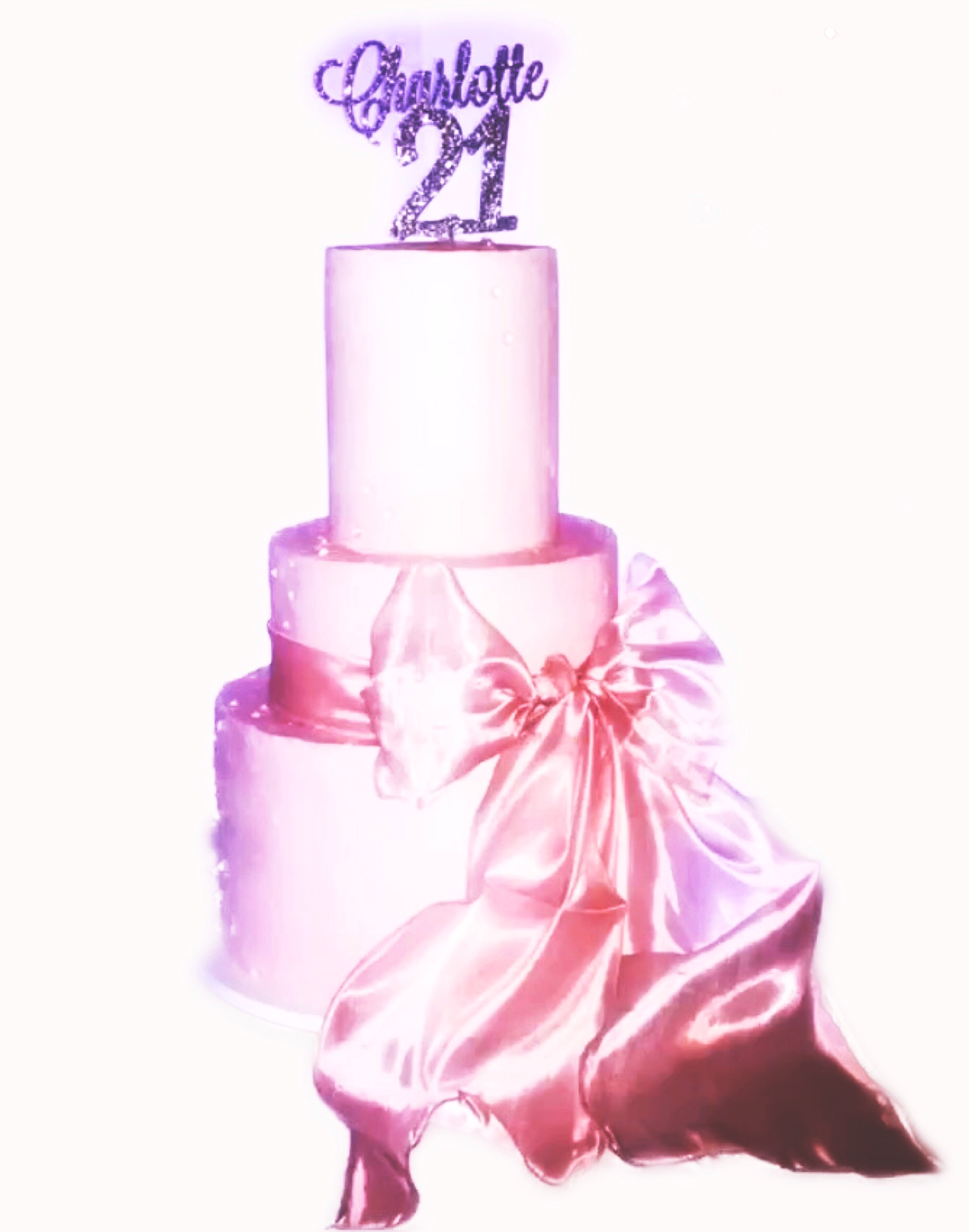 3 tier pink buttercream bow cake