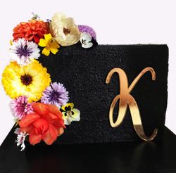 Black Bloom Rectangle Cake