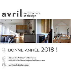 Avril architecture et design vous souhaite une belle année 2018!