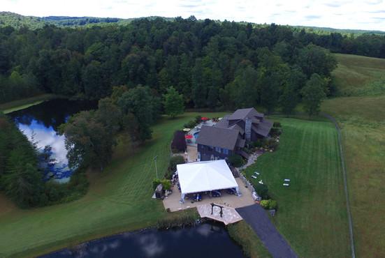 Aerial Lodge tent & ponds