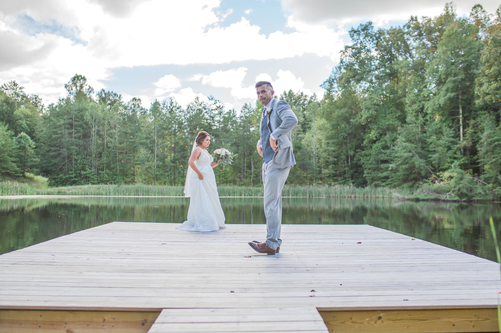 Bride & Groom dance lower pond