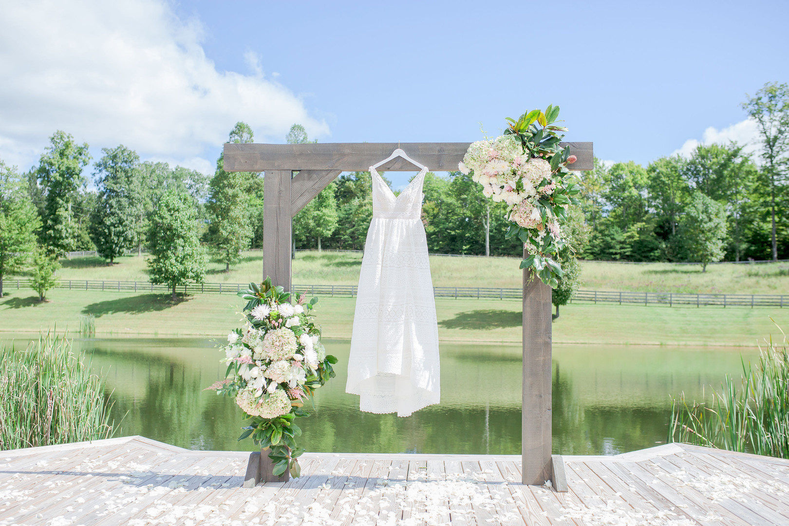 Bride's dress, surrounded by nature