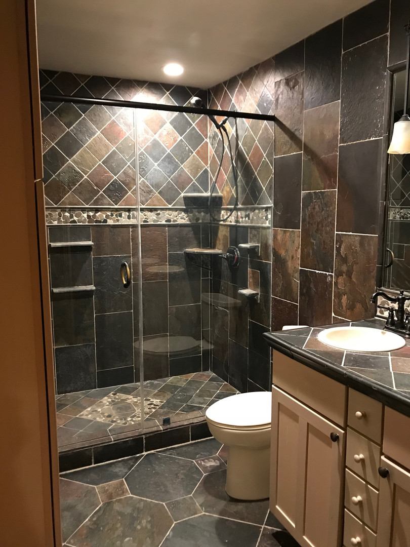 Lodge bathroom slate