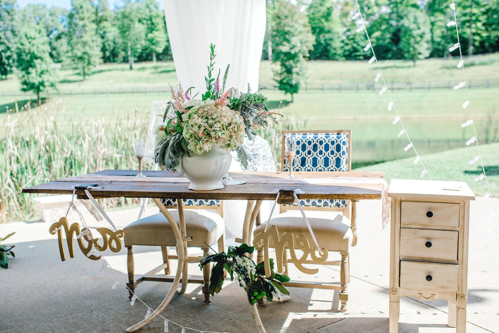 Bride & Groom custom Reception table