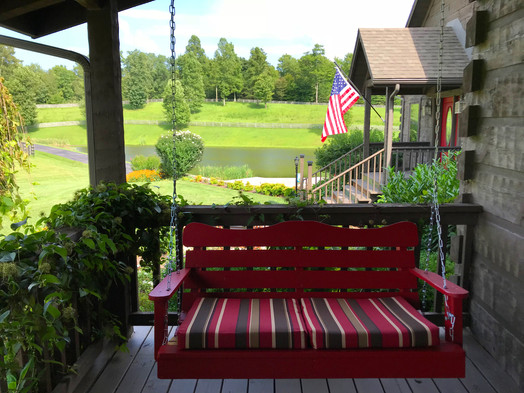 Lodge front porch swing