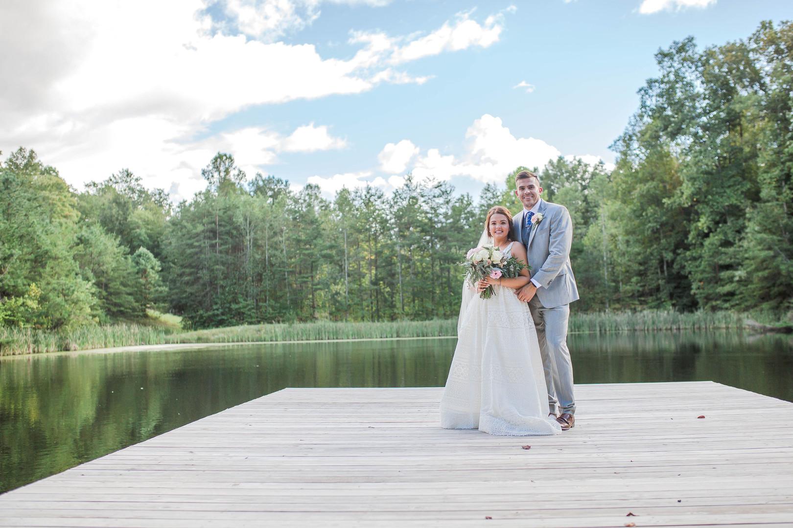 Bride & Groom lower pond pose