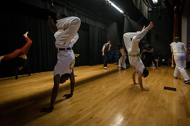 Matt G. and Ron Coleman at the Roanoke Capoeira Center grand opening. Capoeira Angola Quintal.