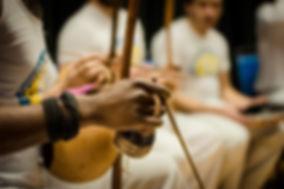 Berimbaus at the Roanoke Capoeira Center's grand opening. Capoeira Angola Quintal.