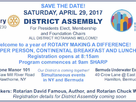 Save The Date! District Assembly 4.29.17