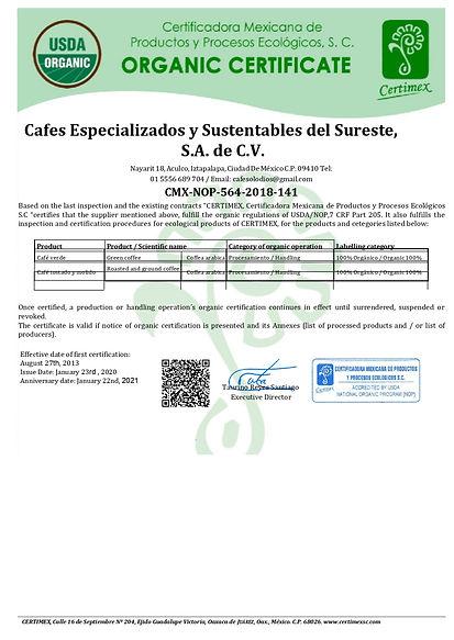 Certificado Cafes Especializados 2020_V1