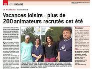 """Article """"Le Progrès"""" AVL recrute des animateurs"""