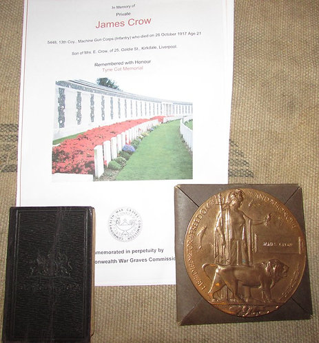 WW1 Death Plaque to James Crow