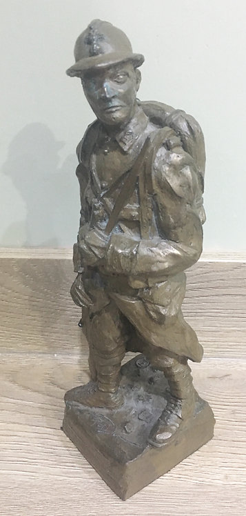 WW1 French Soldier Cold Bronze Figure