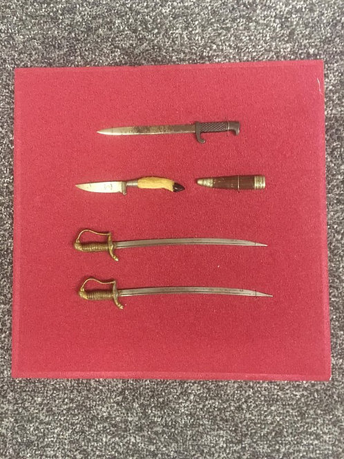 Framed WW2 German Miniature Swords, Bayonets etc