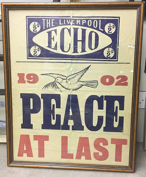 Unique Original Liverpool Echo poster Declaring the end of the Boer War