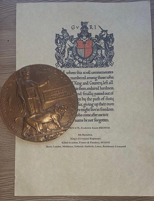 Ww1 death plaque to the 8th Liverpool Irish