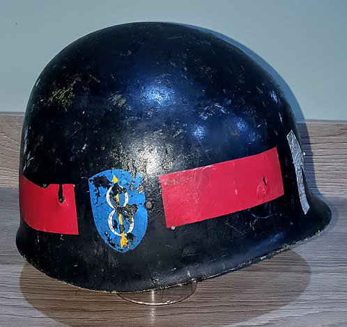 US 70s era helmet, liner painted up to 8th infantry division MP