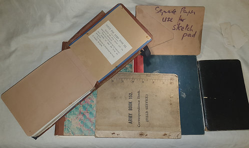 Collection of ww1 notebooks with notes/artwork relating to anti gas studies