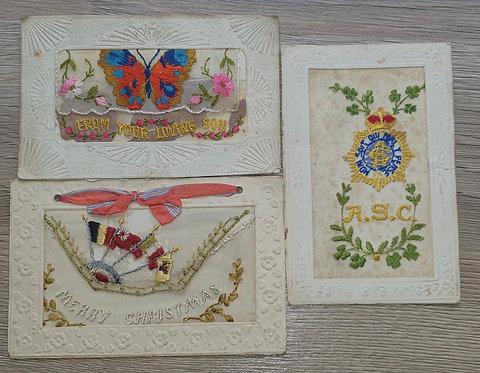 Selection of WW1  silk  postcards