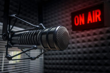 Professional microphone in radio station