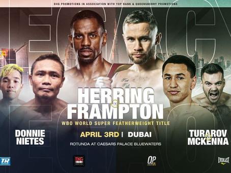HERRING VS FRAMPTON MOVED TO APRIL 3 IN DUBAI