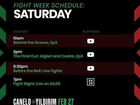 #CaneloYildirim schedule.
